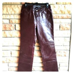 Dark Brown Leather Jeans GAP